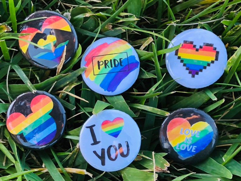 Free Shipping  6pc Gay Pride Parade Rainbow 1 button image 0