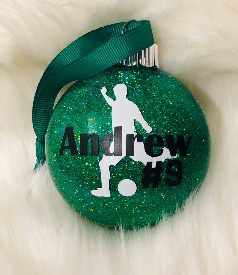 Soccer personalized & dated shatterproof glitter ornament image 0