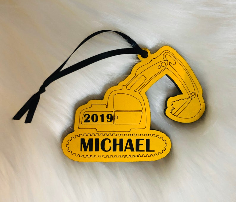 Hand painted excavator personalized name custom made Christmas image 0