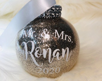 Antique champagne round personalized round shatterproof Mr & Mrs 2021 Christmas ornament with last name wed wedding just married gift bridal