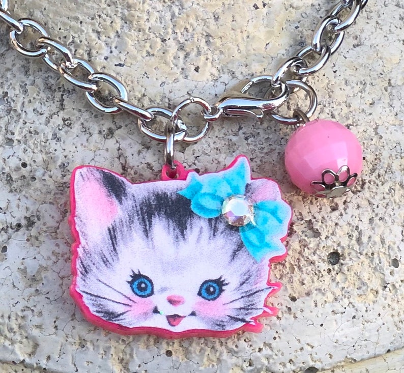 Free shipping Cat Kitten Kitty adjustable silver tone charm image 0