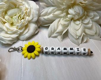Name Keychain   Sunflower Gift   Name Gift   Backpack Name Keychain   Diaper Bag Name Clip   Name Purse Charm   Name Bag Clip   Personalized
