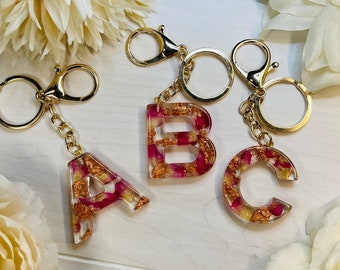 Flower Keychain   Resin Flower   Rose Gold Leaf   Mothers Day Gift   Rose Gold Keychain   Bridesmaids Gift   Backpack Charm   Purse Charm