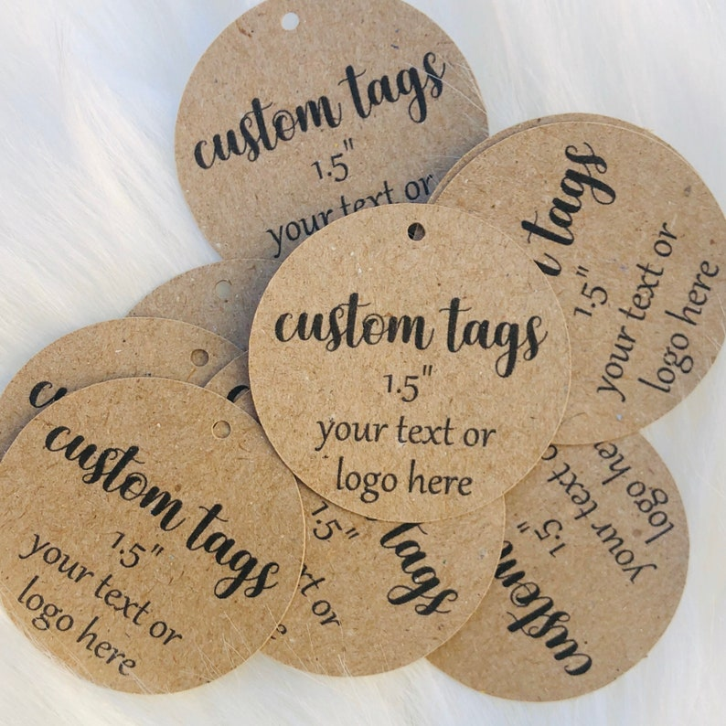 150pcs bulk Kraft custom personalized 1.5 hang tags image 0
