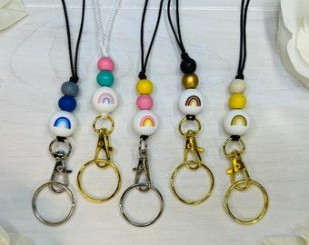 Rainbow Lanyard | Beaded Lanyard | Key Holder | Badge Holder | Lanyard Clip | Boho Rainbow | Teacher Lanyard | Boho Lanyard