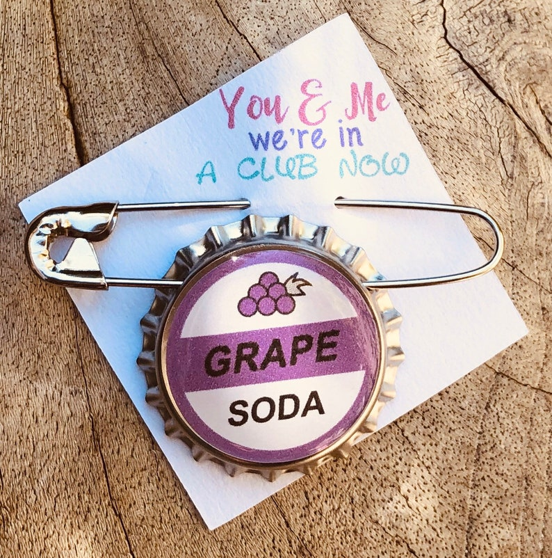 6pc Party Pack Up Grape Soda Bottle Cap with Safety Pin image 0