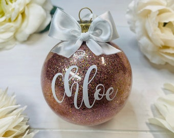 Rose Gold Ornament | Name Ornament | Round Ornament | Calligraphy | Rose Gold Gift | Pretty Christmas Ornament | Glitter Ornament | Rose