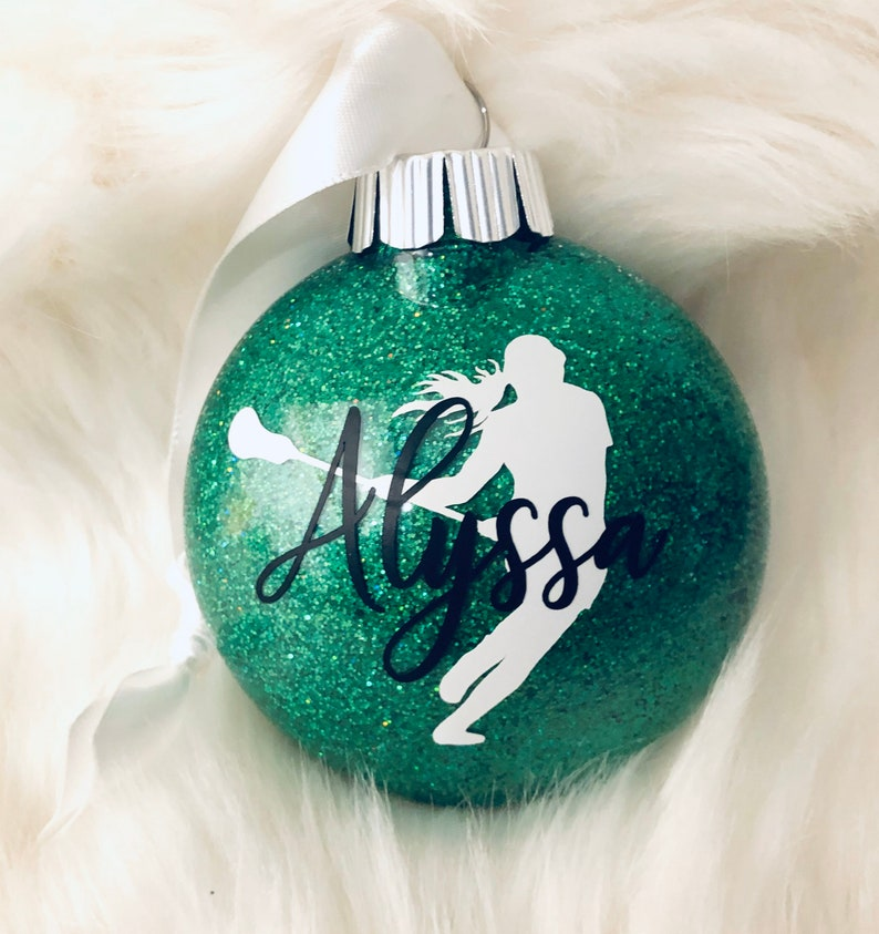 Lacrosse personalized & dated shatterproof glitter ornament image 0