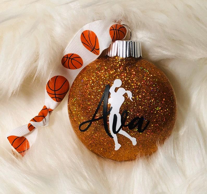 Basketball personalized & dated shatterproof glitter ornament image 0