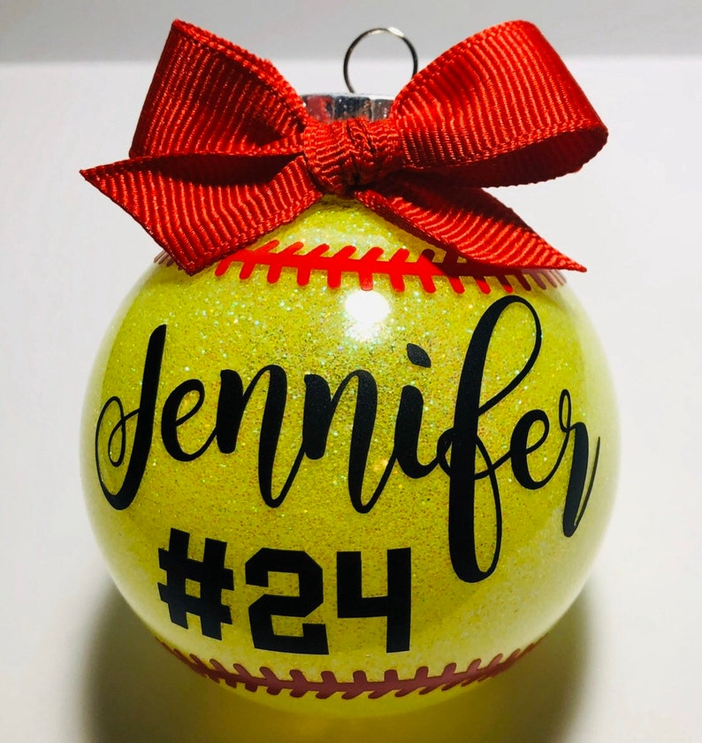 Personalized round shatterproof red bow softball ornament image 0