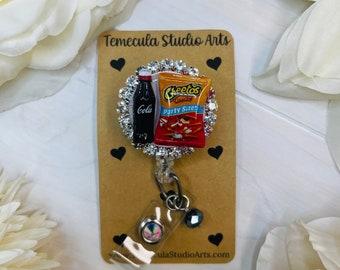 Foodie Gift   Miniature Foods   Tiny Foods   Fake Food   Snacks    Nurse Gift   Teacher Gift   Funny Badge Reel   Cute Badge Reel