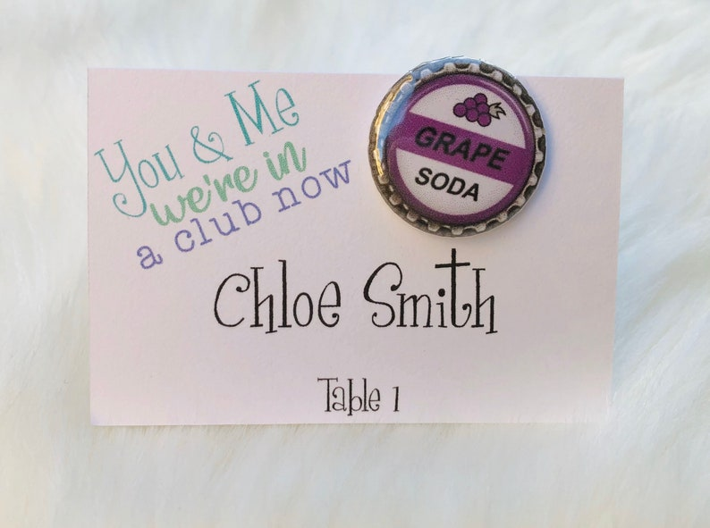 Up Grape Soda Pin Escort Table Number Wedding Party Card Favor image 0