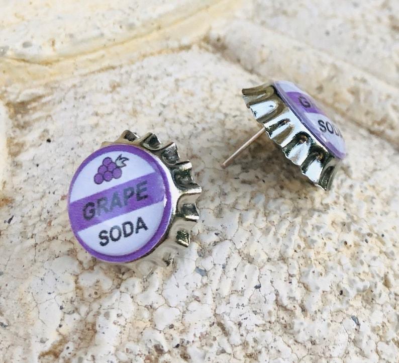 Up Inspired Grape Soda Bottle Cap surgical steel post earrings image 0