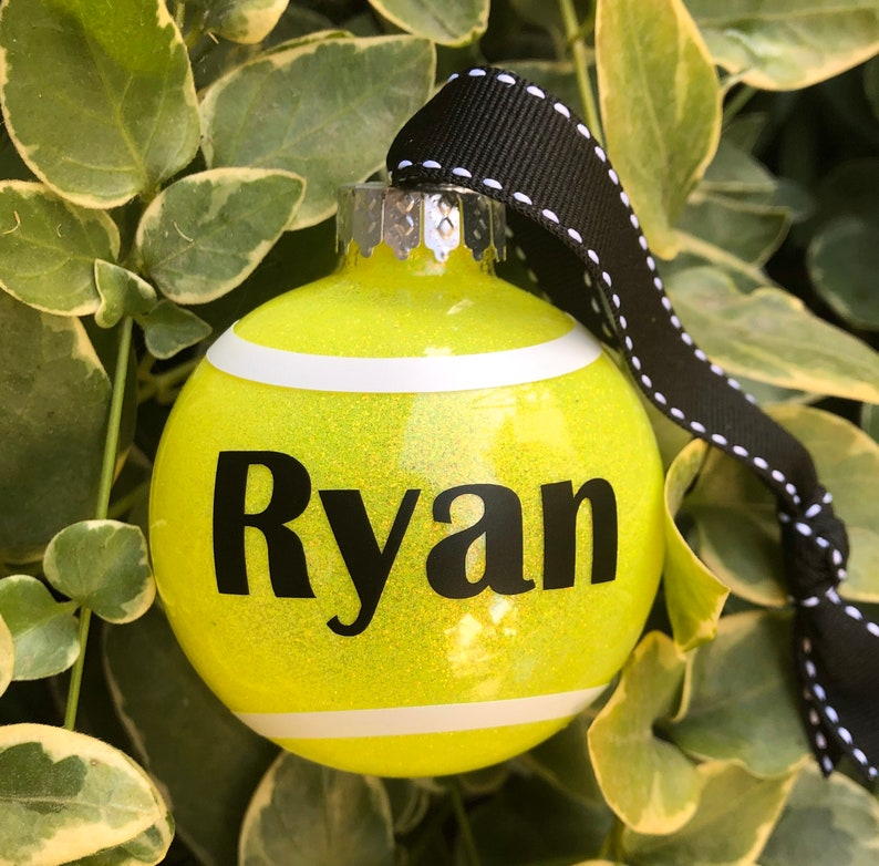Custom Personalized Tennis Ball Christmas Tree Ornament image 0