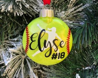 Softball Ornament | Pitcher Ornament | Softball Team | Softball | Softball Christmas Ornament | School Team | Travel Ball | Coach Gift