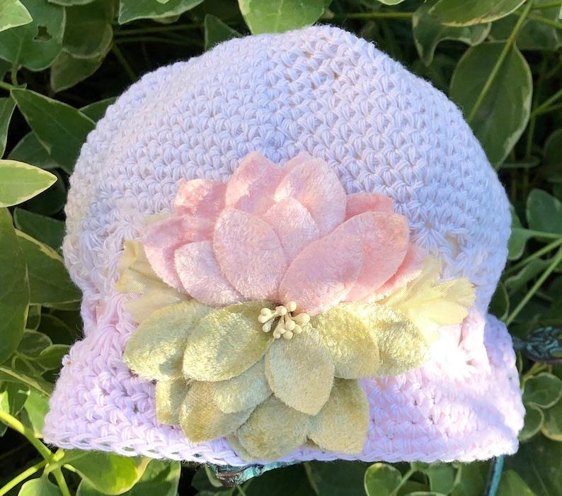 Adjustable hand dyed crocheted hat with vintage velvet flower image 0