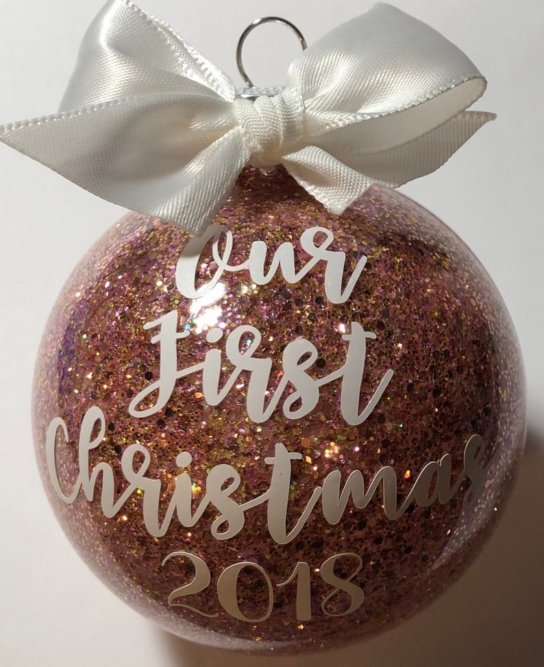 Our First Christmas Dated Rose Gold Ornament Etsy