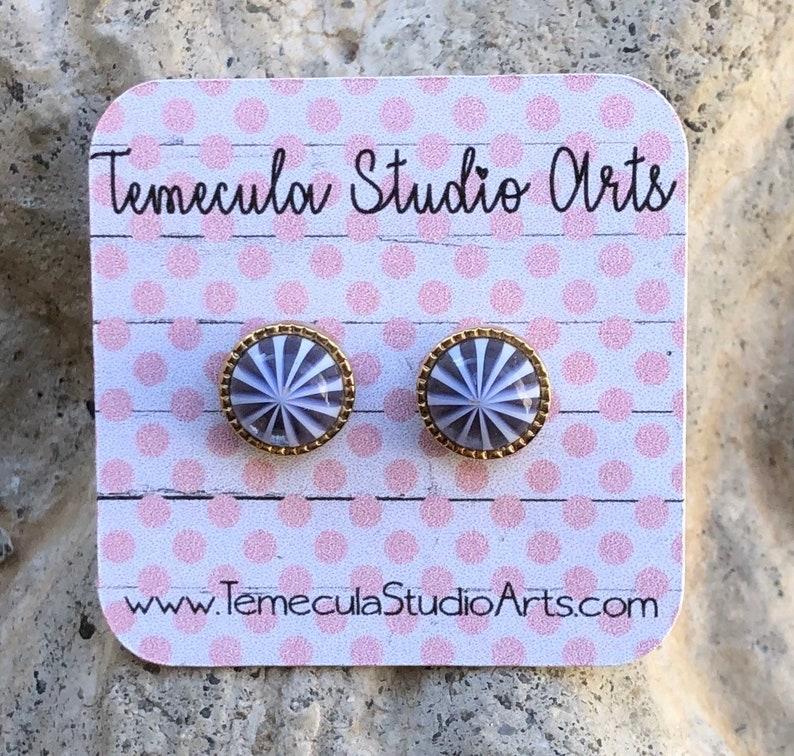 Polka dots shiplap Pierced earrings display card custom image 0