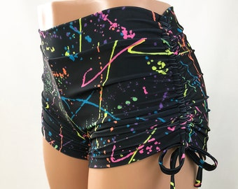 7fb264e077 Neon Splash - Rainbow - Hot Yoga Shorts - Mid Rise - Plus Size Workout -  Pole - Swim - Fitness - Festival - SXYfitness - made in USA -