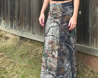 43a4e6fd9b49c Camo Maxi Skirt Camouflage Print Long Skirt Plus Size Camo Womens  SXYfitness USA