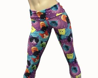 027da7d56fbe8 Yoga Pants - Workout Clothes - Hot Yoga Capri - Crazy Cats - Cat Pants -  High Waist - Fold Over - Capri - SXY Fitness - Handmade - USA -