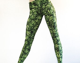 cab3efba237ff Marijuana Leaf Pants Cannabis Marijuana Leaf Yoga Pants Legging Fold  Over/High Waist SXYFITNESS USA
