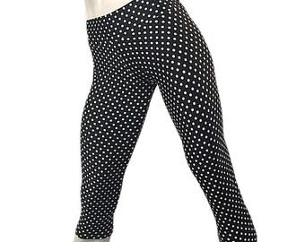 40e30377d8d SALE - XS S -Black   White - Polka Dot Hot Yoga Pants Low Rise Capri Workout  SXYFitness