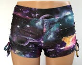 Hot Yoga Shorts - Cute Yoga Shorts - Plus Size Workout - Workout Shorts - Swimwear - SXYfitness - made in USA - Galaxy Yoga - Galaxy - Black