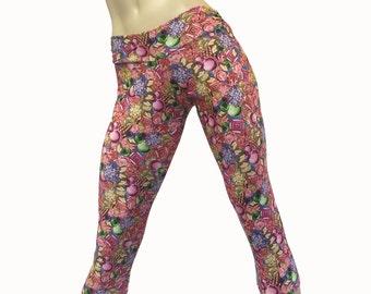 e833a14b03b3e8 Yoga Pants - Workout Clothes - Hot Yoga - Fitness - Pink - Diamonds - Low  Rise - Capri - Tights - SXY Fitness - Handmade - USA -