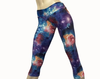 b119ff0d192 Yoga Pants - Workout Clothes - Hot Yoga - Fitness - Galaxy - Galaxy Pants -  Low Rise - Capri - Plus Size - SXY Fitness - Handmade - USA -