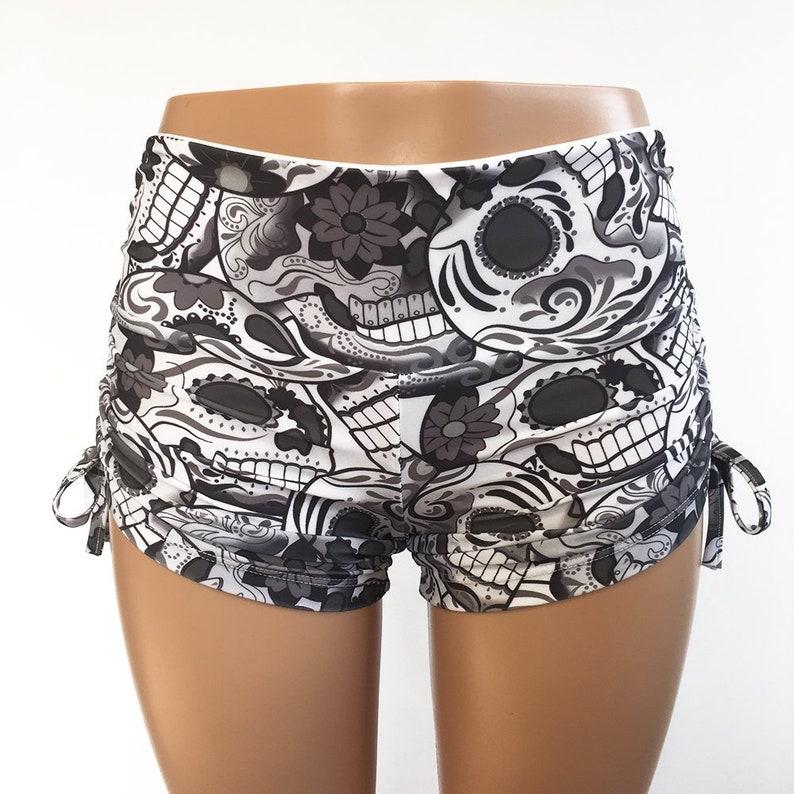 d4c5fec56a Sugar Skull Shorts Black White Hot Yoga Shorts Plus   Etsy