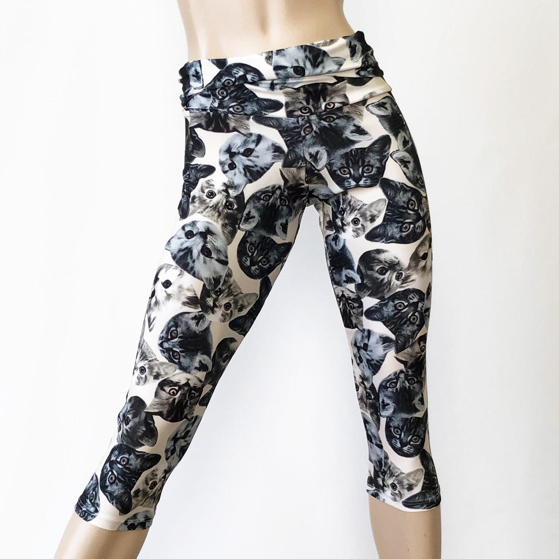 made in USA - Neon High Waist Retro Flowers Capri Pants CLEARANCE sizes sm Hippie Yoga Pants SXYfitness