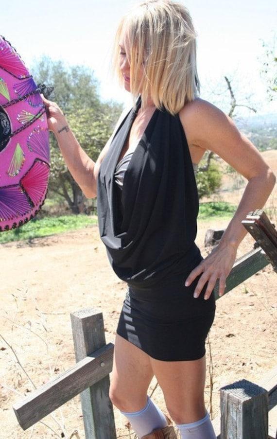 92044111e0 Backless Drape Halter Dress Halter Dress Black Halter
