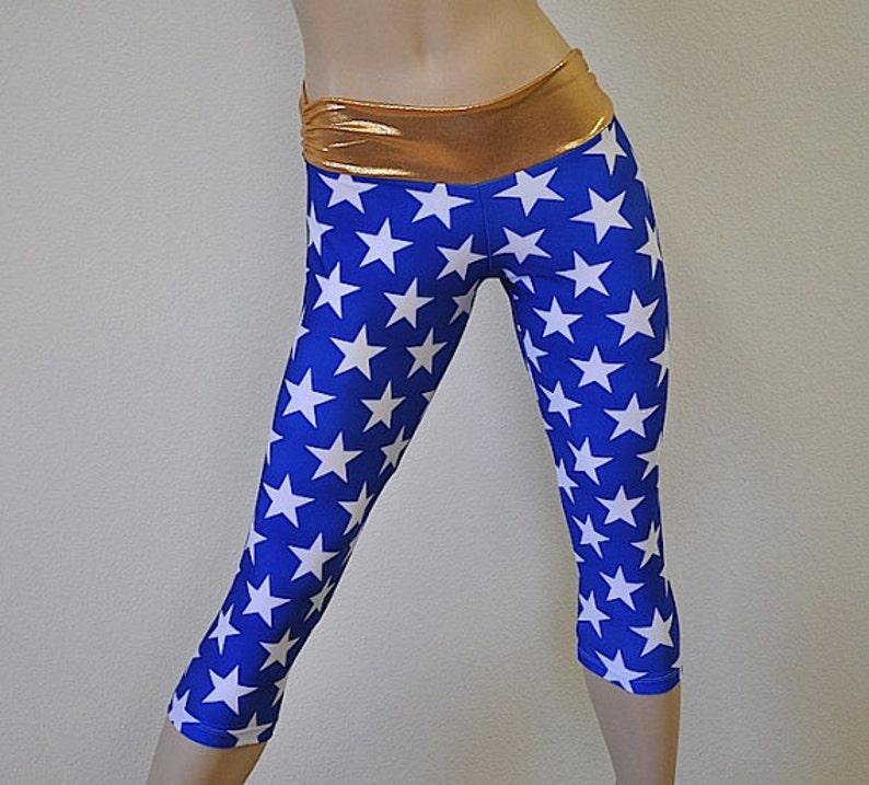 7029f1da4d6e2 Super Hero Pants Blue Star Pants Gold Yoga Pants | Etsy