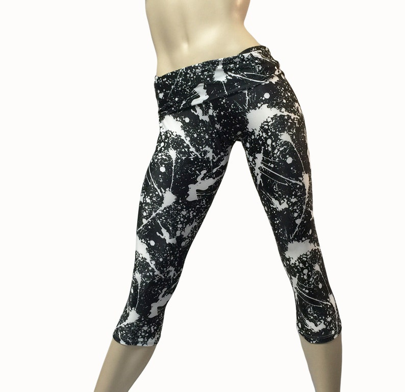 61f178df470de Yoga Pants Workout Clothes Hot Yoga Capri Black White | Etsy