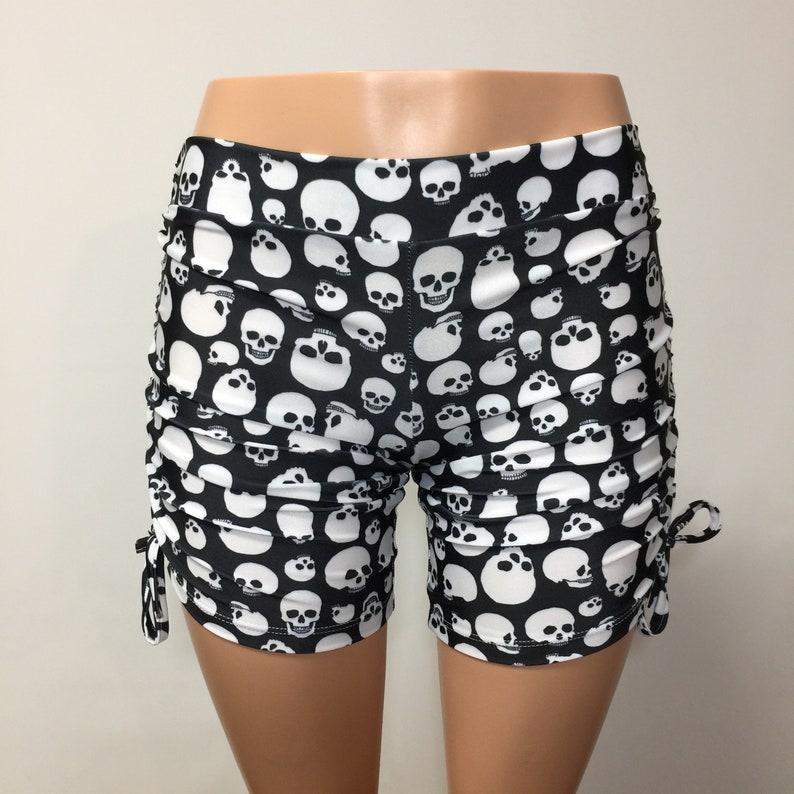 Swimwear Made in USA - Hot Yoga Shorts Yoga Shorts SALE Skull Shorts Skulls SXYfitness Black and White