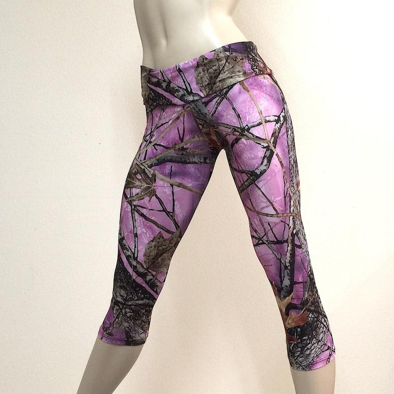 Camo Pants Capri Handmade High Waist Pink Camo Workout Clothes Camouflage USA - Fold Over SXY Fitness Fitness Hot Yoga