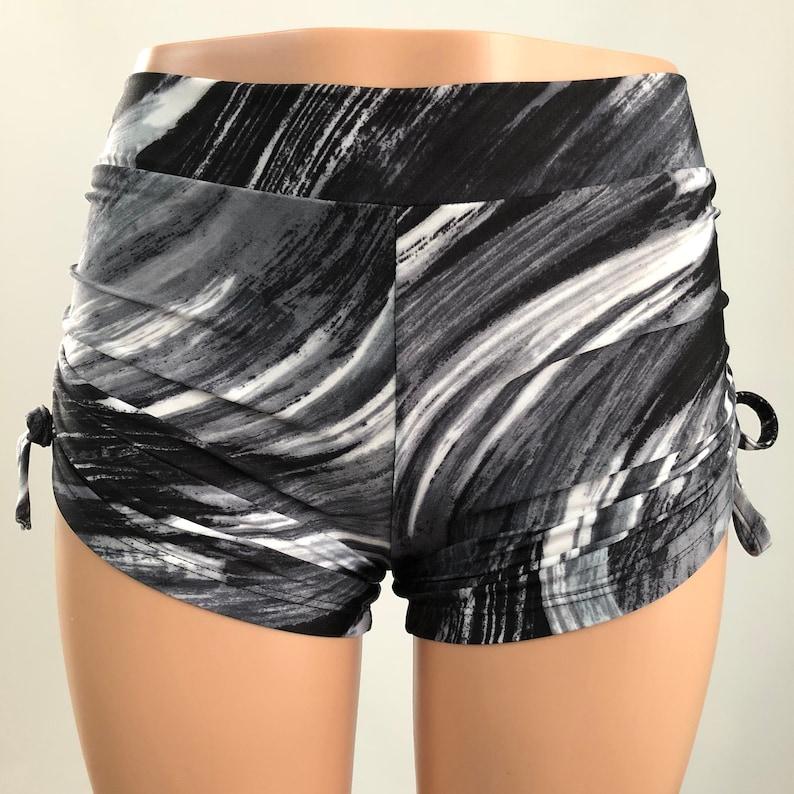 8d2a31448b Black and White Hot Yoga Shorts Cute Yoga Shorts Plus   Etsy