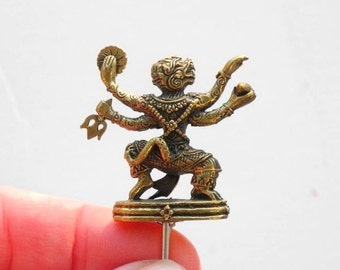 Miniature Hindu Figure Hanumana for Living Meditation Garden, Miniature Prayer Garden, Personal Altar, Dollhouse Miniature, Brass, Staked