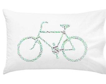 Personalized Pillowcase Mountain Bike Bicycle Pillow Cycling Decor Christmas Gift Monogram