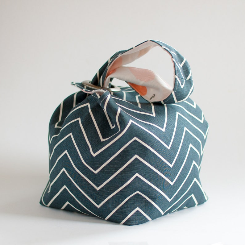 Reversible Dumpling Bag Knitting Project Tote in Once Upon a Time Knitting Bag Project Bag Maker Tote Size Medium