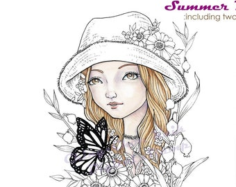 Summer Blooms- Coloring Page PRINTABLE Instant Download Digital Stamp/ Monarch Butterfly Hat Girl Flower Art by Ching-Chou Kuik