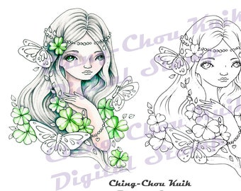 Lucky Clover  - PRINTABLE Instant Download Digital Stamp / Botanical Butterfly Pearl Fairy Girl Fantasy Art by Ching-Chou Kuik