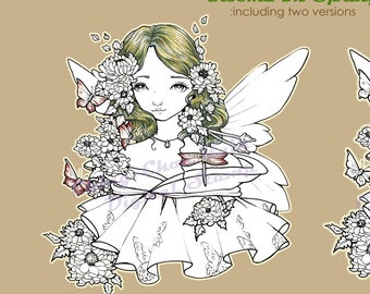 Blooms In Spring- Coloring Page PRINTABLE Instant Download Digital Stamp/ Kimono Butterfly Girl Fairy Art by Ching-Chou Kuik