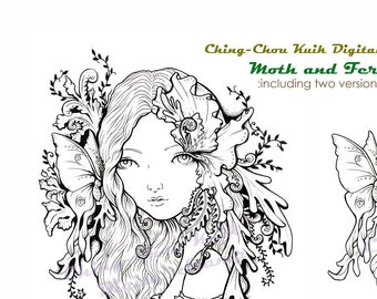 Moth and Fern- Coloring Page PRINTABLE Instant Download Digital Stamp/Fantasy Botanical Fairy Girl Art by Ching-Chou Kuik