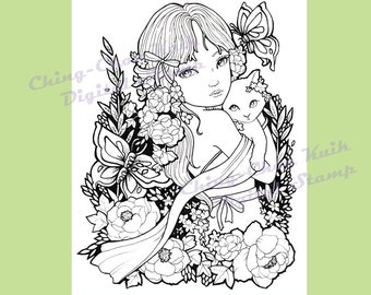 Peony In May- Coloring Page PRINTABLE Instant Download Digital Stamp/ Kimono Butterfly Cat Girl Flower Art by Ching-Chou Kuik