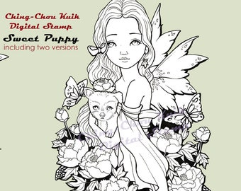 Sweet Puppy- Coloring Page PRINTABLE Instant Download Digital Stamp/Dog Kimono Peony Fairy Girl Flower Art by Ching-Chou Kuik