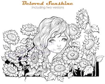 Beloved Sunshine- Coloring Page PRINTABLE Instant Download Digital Stamp/ Sunflower Girl Flower Art by Ching-Chou Kuik
