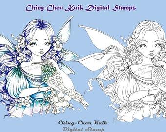 It's Hummingbird - PRINTABLE Instant Download Digital Stamp / Rose Flora Animal Bird Fairy Faery Girl Art by Ching-Chou Kuik