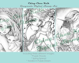 Hello Natural Set 2 - Greyscale PRINTABLE Instant Download Digital Stamp /  Hummingbird Cat Fairy Girl Art by Ching-Chou Kuik